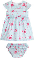 Cath Kidston Small Henley Bloom Baby Girls Pleated Dress With Brief