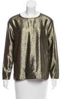 Oscar de la Renta Metallic Textured Top