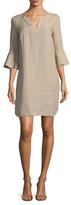 Three Dots Flounce Sleeve Linen Dress