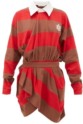 Matthew Adams Dolan - Long-sleeved Striped-cotton Rugby Shirt Dress - Womens - Red Multi