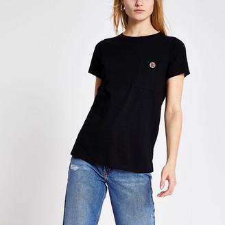 River Island Womens Black RI diamante button short sleeve T-shirt