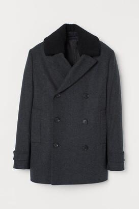 H&M Wool-blend Pea Coat - Gray