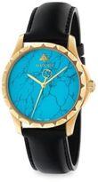 Gucci Le Marche des Merveilles Synthetic Turquoise, Goldtone PVD & Leather Strap Watch