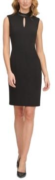 Calvin Klein Faux-Leather-Trim Sheath Dress