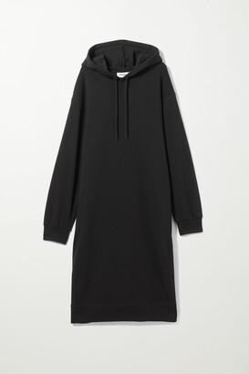 Weekday Marcie Hood Dress - Black