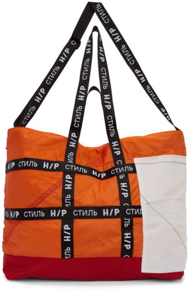 Heron Preston SSENSE Exclusive Orange and Red JUMP Tote