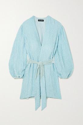 retrofete Gabrielle Velvet-trimmed Sequined Chiffon Wrap Mini Dress - Light blue