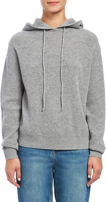 Theory Ribbed Cashmere Hooded Sweater