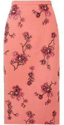 Erdem Maira Embroidered Crepe Midi Pencil Skirt