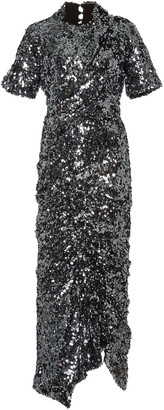 Preen by Thornton Bregazzi Sophia Ruched Sequined Crepe Midi Dress