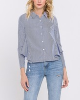 Express English Factory Cropped Ruffle Back Button-Up Shirt