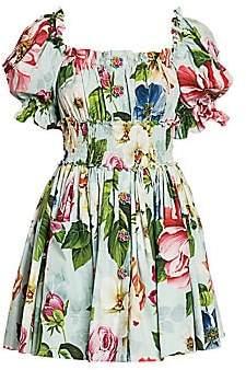 Dolce & Gabbana Women's Poplin Floral-Print Puff-Sleeve Mini Dress