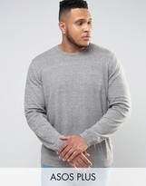 Asos Plus Knitted Jumper In Khaki Twist