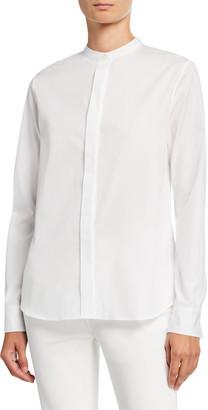 Loro Piana Mandarin-Collar Poplin Shirt