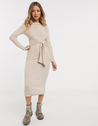 Miss Selfridge ribbed midi dress in camel