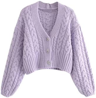 Goodnight Macaroon 'Sharon' Cable-knit V-neck Cardigan