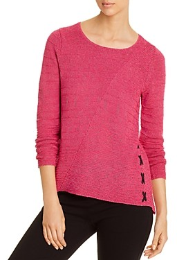 Nic+Zoe Ribbed Lace-Up Sweater