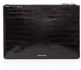 Whistles Small Shiny Croc-Embossed Leather Clutch
