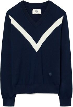 Tory Sport Chevron Stripe Merino Wool V-Neck Sweater