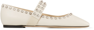 Jimmy Choo MINETTE FLAT Latte Nappa Leather Ballet Flats with Crystal Embellishment