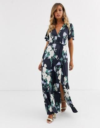 Asos Design DESIGN floral flutter sleeve maxi dress with tassle belt-Multi
