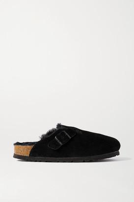 Birkenstock Boston Shearling-lined Suede Slippers - Black