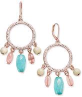 Nine West Rose Gold-Tone Multi-Bead Drop Hoop Earrings