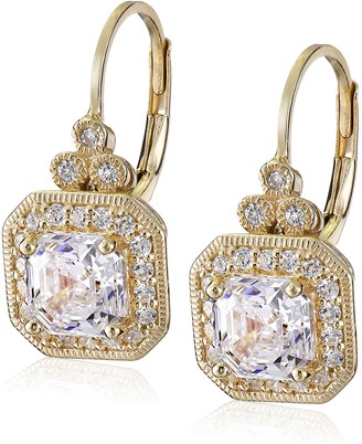 Amazon Collection Yellow Gold Plated Sterling Silver Antique Drop Earrings set with Asscher Cut Swarovski Zirconia