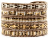 Chan Luu Gold Mix Seed Bead Multi Wrap Bracelet on Henna Leather