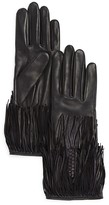 Agnelle Leather Gloves with Fringe