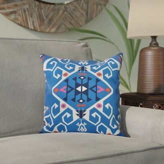 """Bungalow Rose Groth Medallion Square Pillow Cover and Insert Size: 16"""" H x 16"""" W, Color: Blue"""