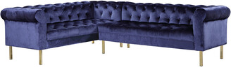 Chic Home Giovanni Navy Velvet Left Sectional