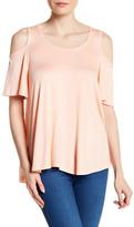 Bobeau Short Sleeve Cold Shoulder Shirt