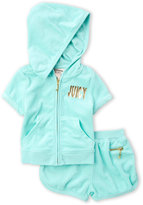 Juicy Couture Toddler Girls) Two-Piece Turquoise Terry Hoodie & Short Set