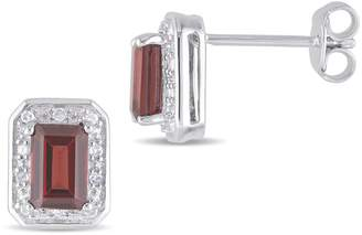 Concerto 0.10 CT. T.W. Diamond and Garnet Stud Earrings