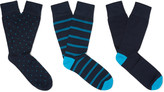 Corgi - Three-pack Patterned Cotton-blend Socks