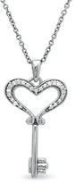 Zales Diamond Accent Small Heart Key Pendant in Sterling Silver
