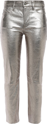 Frame Metallic Leather Slim-leg Pants