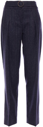 Victoria Victoria Beckham Belted Pinstriped Wool-blend Twill Tapered Pants