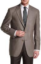 Hart Schaffner Marx Brown Plaid Two Button Notch Lapel Silk & Wool Sport Coat