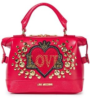 Love Moschino Embellished Quilted Smooth And Lizard-effect Faux Leather Tote