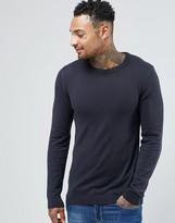 Asos Crew Neck Sweater in Navy Cotton