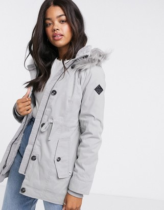 Hollister teddy lined parka jacket with faux fur hood in grey