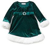 Bonnie Jean Bonnie Baby Baby Girls 12-24 Months Sparkle Velvet Faux-Fur Trimmed Santa Dress