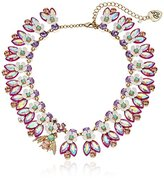 "Betsey Johnson Bumble Bee Faceted Stone Flower Collar Necklace, 15"" + 4"" Extender"