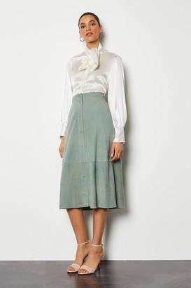 Karen Millen Popper Front Suede Midi Skirt