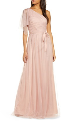 Marchesa One-Shoulder Tulle A-Line Gown
