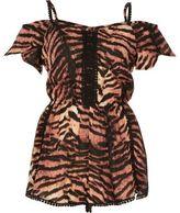 River Island Womens Brown tiger print bardot romper
