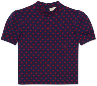 Gucci Polka dot and Double G wool top