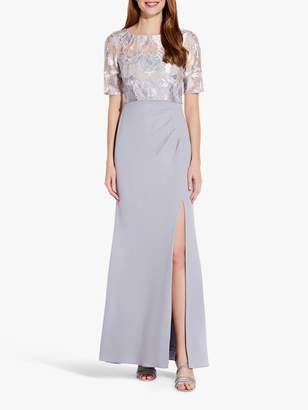 Adrianna Papell Embroidered Side Split Long Gown, Silver